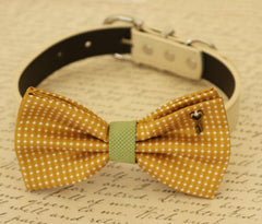 Mustard Dog Bow Tie, Bow attached to dog collar, Pet accessory, Dog collar, Charm, Heart Key, Dog birthday gift, Dog Lovers, Green - LA Dog Store  - 1