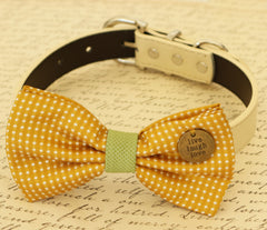 Mustard Dog Bow Tie, Bow attached to dog collar, Pet accessory, Dog collar, Charm, Live, Love, Laugh, Dog birthday gift, Ivory dog collar - LA Dog Store  - 1