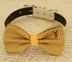 Mustard Dog Bow Tie, Bow attached to dog collar, Pet accessory, Dog collar, Charm, Heart Key, Dog birthday gift, Ivory dog collar - LA Dog Store  - 1