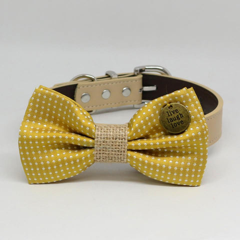 Dog Collar, Mustard Polka Dots Bow Tie collar, Pet wedding, Charm(Live,Laugh,Love), Puppy, Burlap
