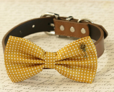 Mustard dog bow tie collar, Pet accessory, Heart Key, Country Rustic wedding