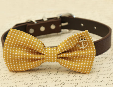 Mustard Dog Bow Tie, Polka dots attached to collar, Beach wedding