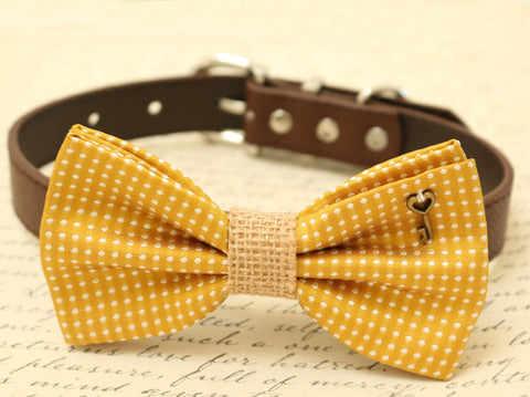 Dog Bow Tie attached to brown dog collar, Pet wedding accessory, Charm, Cat bow, Burlap
