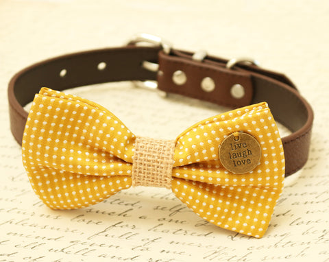 Mustard Dog Bow Tie attached to brown dog collar, Burlap wedding