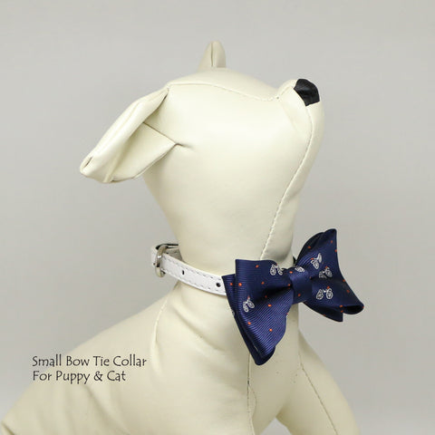 Posedion Blue bicycle bow, Small bow tie collar, Puppy Collar, Cat collar, Cat bow tie collar , Wedding dog collar