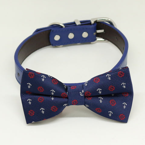 Navy Dog Bow Tie Collar,Anchor Bow tie, Navy blue dog collar , Wedding dog collar
