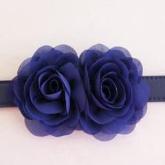 Navy Flower dog collar, Handmade flower leather collar, Dog of honor proposal XS to XXL collar, Puppy Girl flower collar