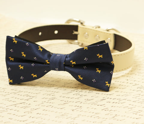 Navy dog Bow tie attached to collar, Pet wedding accessory, dog birthday , Wedding dog collar
