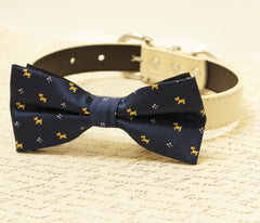 Navy dog bow tie, Bow tie attached to dog collar, Pet wedding accessory, some thing blue, dog birthday gift, dog lovers, dog collar - LA Dog Store  - 1
