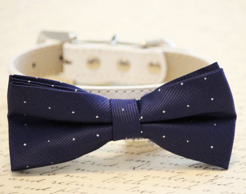 Navy dog bow tie, Navy Blue Wedding dog accessories - Chic Dog Bow tie