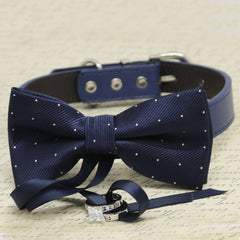 Starlight Dog Bow Tie Collar, Ring Bearer, Pet Wedding, Proposal, Navy Blue