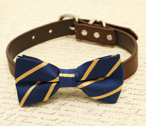 Navy dog bow tie attached to collar, pet wedding, Navy and gold wedding , Wedding dog collar