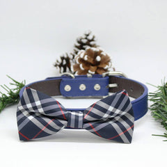 Plaid dog Navy bow tie Collar, Wedding lovers, dog birthday gift, Christmas Pet accessory
