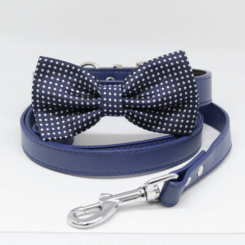 Dog Bow Tie collar and Leash, Navy Bow tie, Handmade, Dog of honor, Pet wedding, Something blue