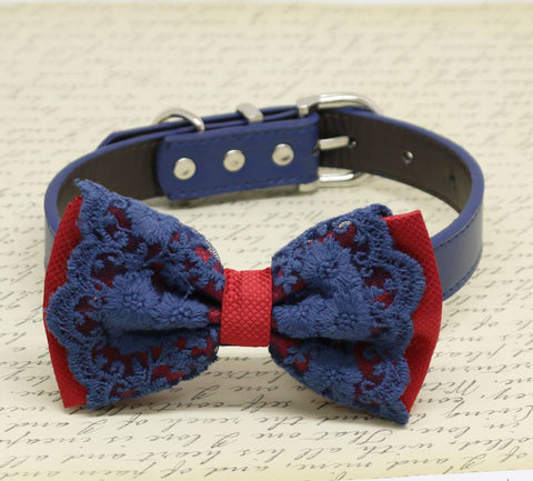Red and Navy Lace dog bow tie collar, Pet wedding accessory, Puppy Love, Birthday Gifts