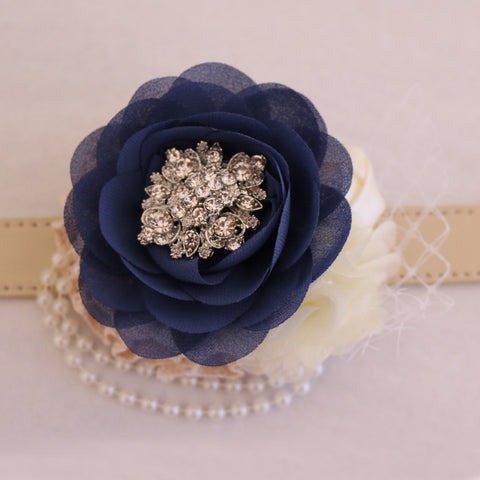 Navy Flower dog collar, Pearl beaded handmade flower collar, Dog of honor, proposal or every day use, S to XXL collar