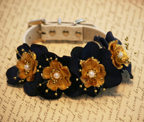 Navy and Gold Floral Dog collar Pet Wedding, Navy and Gold Wedding, Dog Lovers