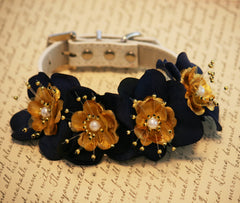 Navy and Gold wedding dog collar, Floral Dog collar, Pet Wedding accessory, Navy and Gold Wedding, Dog Lovers, dog collar with Flowers - LA Dog Store  - 1
