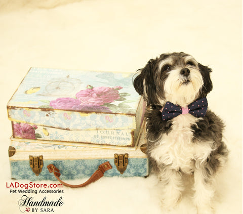 Navy and Lavender dog bow tie, Bow tie attached to dog collar, Navy Wedding