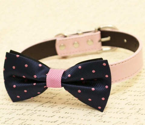Navy and Lavender dog Bow tie attached to collar, Navy Wedding
