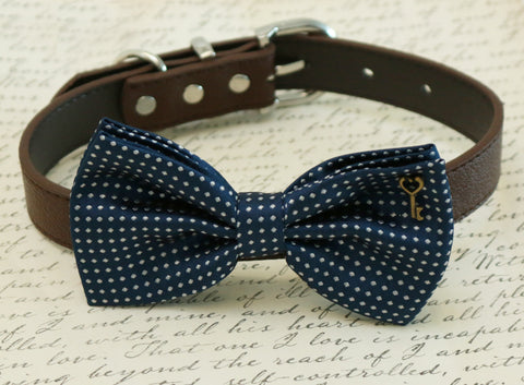 Navy Polka dots dog Bow tie attached to collar, Pet wedding, charm , Wedding dog collar