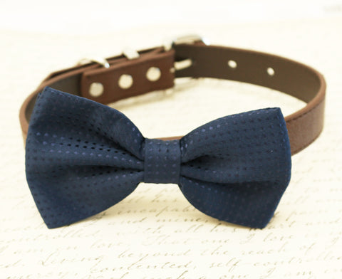 Navy Dog Bow Tie attached to collar, wedding accessory, Something blue