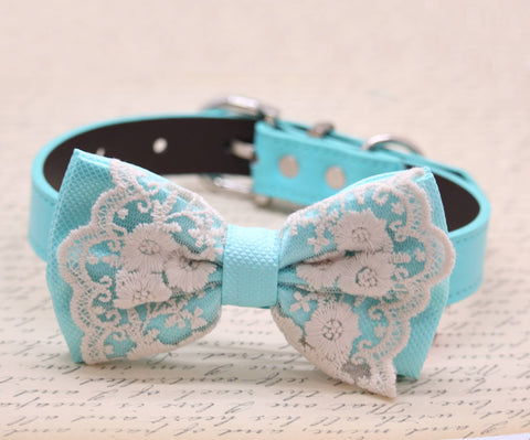 Aqua Blue Lace Dog Bow Tie, beach wedding, Aqua Blue wedding collar , Wedding dog collar