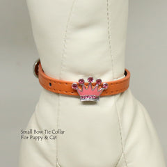 Dog Cat Collar, Leather, Charm, XS Collars,  Puppy collars, Cat Collar, kitten collar, Crown