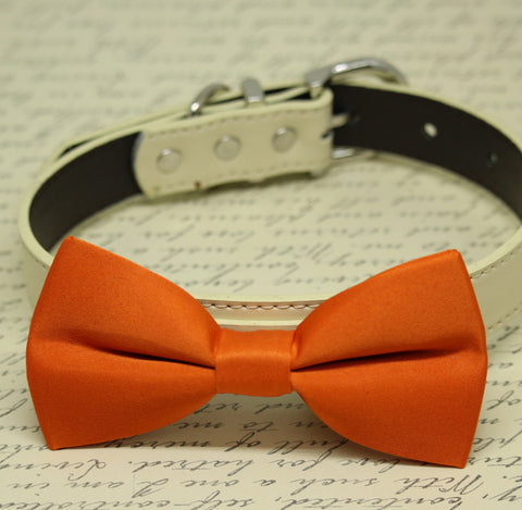 Orange Dog Bow tie collar, Pet accessory, Dog collar, Wedding accessory, Fall, Dog Birthday gift, Leather , Wedding dog collar