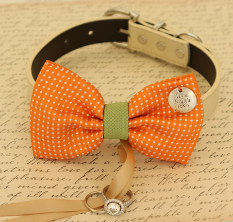 Orange Dog Bow Tie attached to dog collar ring bearer, Orange and green wedding , Wedding dog collar