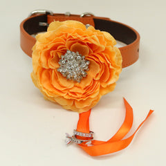 Orange flower dog collar, Orange leather dog collar, handmade Dog collar, Dog ring bearer, Proposal, Dog of honor, Beaded Crystal collar