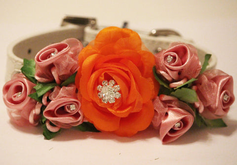 Orange Pink Floral Dog Collar. Orange and Pink Wedding, Pet wedding accessory, Wedding idea, Dog Lovers, Orange and Dusty Pink