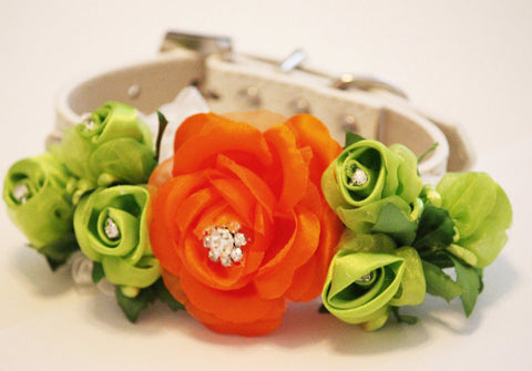 Orange Green wedding Dog Collar, Wedding floral Dog Accessory