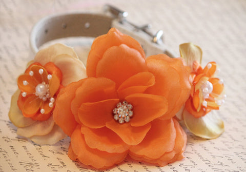 Orange wedding Dog Collar with pearls and Rhinestones, pets accessory, floral