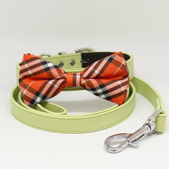 Dog Bow Tie collar Leash, Plaid Orange Bow tie, Green Leash, Handmade, Puppy Gift, Dogs wedding, Dog of Honor