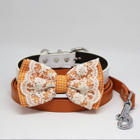 Dog Bow Tie collar and Leash, Orange Bow tie, Dog collar, apricot orange Leash, Handmade, Pets wedding, Lace