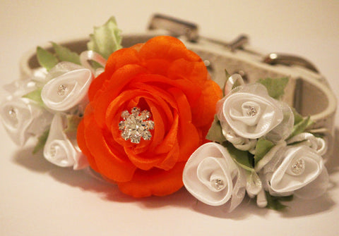 Orange White Wedding Dog Collar, Wedding Dog Accessory