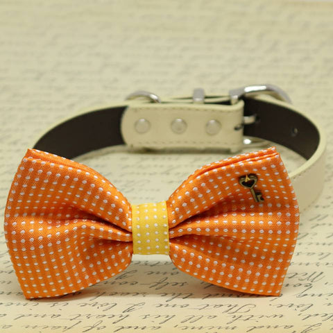 Orange and Yellow Dog Bow Tie collar, Pet wedding, Key of Heart Charm, Polka dots