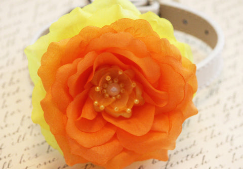 Yellow Orange Floral Dog Collar, Yellow Orange flower and pearl, Wedding accessory