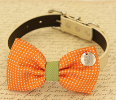 Orange Dog Bow Tie, Bow attached to dog collar, Pet wedding accessory, dog birthday gift, Orange and Green, Live, Love, Laugh, Polka dots - LA Dog Store  - 1