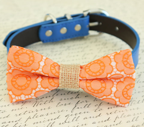 Orange floral dog bow tie, Bohemian Wedding, some thing blue