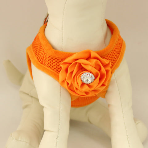 Dog harness, Dog harness with Orange Rhinestone rose, Mesh harness ,Breathable, Girl puppy harness, Black, purple, orange or pink harness , Wedding dog collar