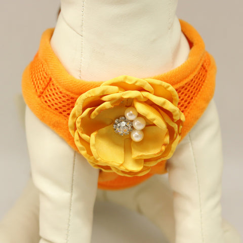 Dog harness, Dog harness with Sunny Yellow beaded rose, Mesh harness ,Breathable, Girl puppy harness, Black, purple, orange, yellow or pink harness , Wedding dog collar