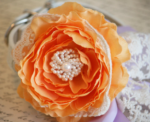 Pastel Orange Peonies and Lavender Wedding, Floral Dog Collar with Lace, Pet Wedding , Wedding dog collar