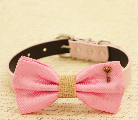 Pink Dog Bow Tie attached to dog collar, Burlap, Charm, pet wedding, color of the year