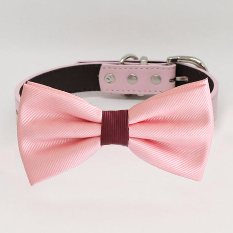 Blush bow tie collar, handmade Puppy bow tie, XS to XXL collar and bow adjustable dog of honor ring bearer, Blush and burgundy bow tie