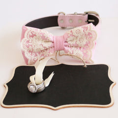 Handmade Pink bow tie collar and Small Chalkboards Signs, Proposal, Bridal Sign, Dog Ring Bearer, Marry me, M to XXL collar