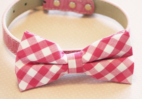 Plaid Pink Dog Bow tie with Collar, pink wedding bow tie, Love Pink , Wedding dog collar