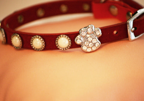 Pearl Beaded Dog Collar, Pearl Dog collar, Cute Red Collar with Cute Small Rhinestone Paw, Small Dog. Love Red