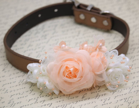 Peach and White wedding Dog Collar, Spring wedding, Floral wedding, Peach Wedding
